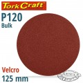 SANDING DISC VELCRO 125MM 120 GRIT NO HOLE BULK