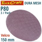 DURA MESH ABR.DISC 150MM HOOK & LOOP 80GRIT 3PC FOR SANDER POLISHER