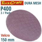 DURA MESH ABR.DISC 150MM HOOK AND LOOP 400GRIT 3PC FOR SANDER POLISHER