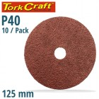 SANDING DISC 125MM 40 GRIT CENTRE HOLE 10/PK