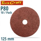 SANDING DISC 125MM 80 GRIT CENTRE HOLE 10/PK
