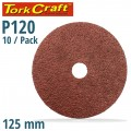 SANDING DISC 125MM 120 GRIT CENTRE HOLE 10/PK