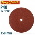SANDING DISC 150MM 40 GRIT CENTRE HOLE 10/PK
