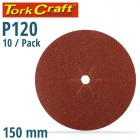 SANDING DISC 150MM 120 GRIT CENTRE HOLE 10/PK