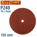 SANDING DISC 150MM 240 GRIT CENTRE HOLE 10/PK