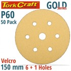 GOLD DISC (50 PIECES) 60 GRIT 150MM X 6+1 HOLES HOOK AND LOOP