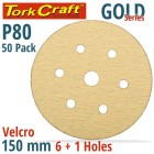 GOLD DISC (50 PIECES) 80 GRIT 150MM X 6+1 HOLES HOOK AND LOOP