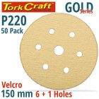 GOLD DISC (50 PIECES) 220 GRIT 150MM X 6+1 HOLES HOOK AND LOOP