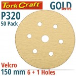 GOLD DISC (50 PIECES) 320 GRIT 150MM X 6+1 HOLES HOOK AND LOOP