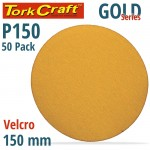 GOLD DISC (50 PIECES) 150 GRIT 150MM WITHOUT HOLE HOOK AND LOOP