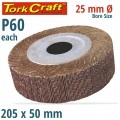 FLAP WHEEL 205 X 50 X 25MM BORE 60 GRIT PER EACH