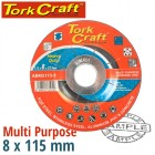 GRINDING DISC MULTI PURPOSE 115 X 8.0 X 22.2MM STEEL, S/STEEL, CONCRET