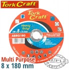 GRINDING DISC MULTI PURPOSE 180 X 8.0 X 22.2MM STEEL, S/STEEL, CONCRET