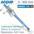 ACCUD COOLENT PROOF DIGITAL CALIPER WITH CALIBRATION CERT 0-300MM