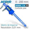 DIGITAL CALIPER WITH CARBIDE TIPPED JAWS 0-200MM/0-8""