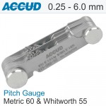 PITCH GAUGE METRIC 60 AND WHITWORTH 55 0.25-6.0MM 4-62TPI