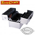 SQUARE ALUMINIUM CASE WITH 4 PIECE TRAY 36.5 X 22.5 X 25 WITH SILVER D