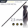HSS DRILL BIT 2.5MM 140  X  95 EXTRA LONG