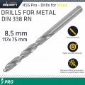 ALPEN PRO HSS 8.5MM DRILL DIN 338 RN 135 SPLIT POINT PLASTIC WALLET