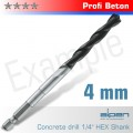 CONCRETE PROFI BETON DRILL BIT 4MM HEX SHANK