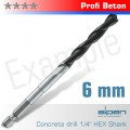 CONCRETE PROFI BETON DRILL BIT 6MM HEX SHANK