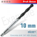 CONCRETE PROFI BETON DRILL BIT 10MM HEX SHANK