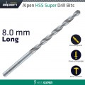 HSS SUPER DRILL BIT LONG 8 X 165MM POUCH