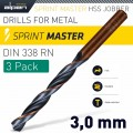 HSS SPRINT MASTER  3.0MM X3 SLEEVED DIN338 ALPEN DRILL BIT