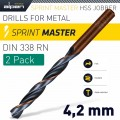 HSS SPRINT MASTER  4.2MM X2 SLEEVED DIN338 ALPEN DRILL BIT