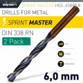 HSS SPRINT MASTER  6.0MM X2 SLEEVED DIN338 ALPEN DRILL BIT