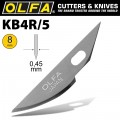 OLFA ART CURVED CARVING BLADE 5/PACK 8MM