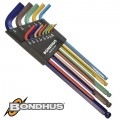 BALL END L-WRENCH 9PC SET XL 1.5-10MM COLORGRD