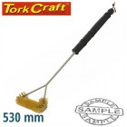"BRAAI BBQ THREE SIDE BRASS WIRE BRUSH 530MM HANDLE 21"" TCW"