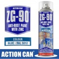ZG-90 BLUE 500ML ANTI RUST SPRAY COLD ZINC GALVANISING RAPID DRY