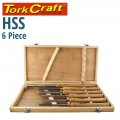 CHISEL SET WOOD TURNING HSS 6 PIECE WOODEN CASE