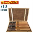 CHISEL SET WOOD TURNING 8 PIECE STD WOODEN CASE