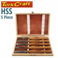 CHISEL SET WOOD TURNING 300MM HSS 5 PIECE WOOD CASE