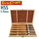 CHISEL SET WOOD TURNING 270MM  HSS 5 PIECE WOOD CASE