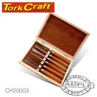 CHISEL SET WOOD CARVING 6 PIECE WOODEN BOX
