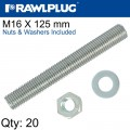 STUD M 16 X 125 X20 PER BOX WITH NUTS AND WASHERS