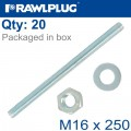 STUD M 16 X 250 X20 PER BOX GALV WITH NUTS AND WASHERS