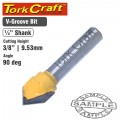ROUTER BIT V GROOVE 90 DEGREE 3/8""