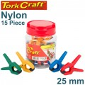 CLAMP SPRING NYLON 25MM 15PCE PLASTIC JAR VARIOUS COLOURS