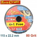FLAP DISC ZIRCONIUM 115MM 80 GRIT FLAT 4+1 FREE