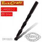 DRILL BIT HSS STANDARD 2.0MM 2/CARD