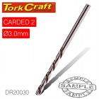 DRILL BIT HSS INDUSTRIAL 3.0MM 135DEG 2/CARD