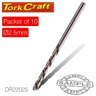 DRILL BIT HSS INDUSTRIAL 2.5MM 135DEG PACKET OF 10