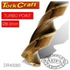 DRILL BIT HSS TURBO POINT 8.0MM 1/CARD