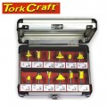 ROUTER BIT SET 12PC ALUMINIUM/GLASS CASE 1/4 SHANK