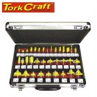 ROUTER BIT SET 35PIECE ALUMINIUM CASE GLASS FRONT 1/4 SHANK